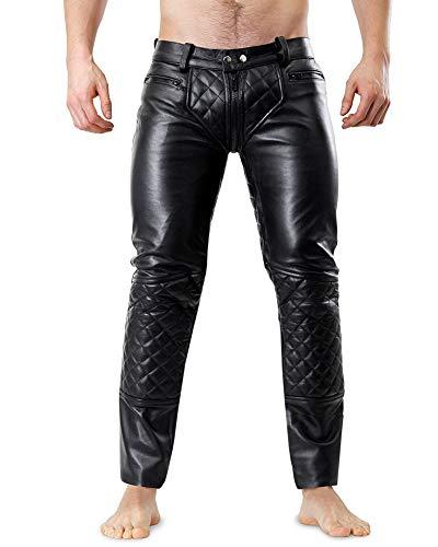Bockle® 5G-Zip gesteppt Schwarze Herren Lederhose mit durchgehendem Reißverschluss, Size: W34/L36