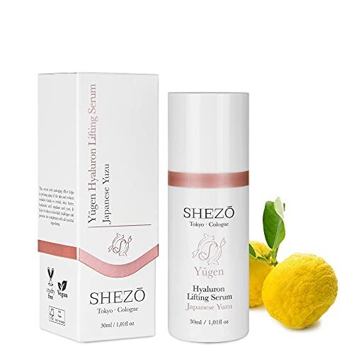 SHEZO Hyaluron Liftingserum hochdosiert 30ml Gesicht Serum Japanische Superfrucht Yuzu - Anti-Falten Gesichtserum – Natürliche Feuchtigkeitspflege Vitamin-C Serum für...