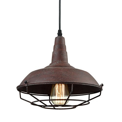 DAYCENT Industrial Nautical Barn Metal Wire Caged Pendant Light Fixture Ceiling Pendant Lamp, Iron Cage Shade in Rust Finish