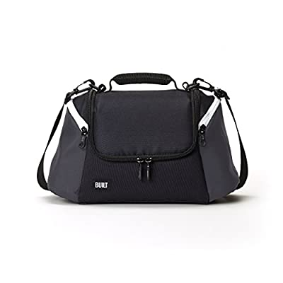 BUILT All Day Gourmet Getaway Water-Resistant Insulated Fabric Lunch Bag with Zip Closure and Removable Shoulder Strap, One Size, Black