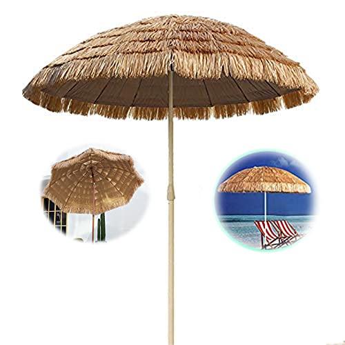 Sombrilla de jardín Ø 180 cm | Nueva sombrilla de Playa Hawaiana | Parasol Solar | Rafia Paja | Cafe Store Patio Pool | Protección UV