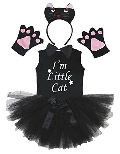 Petitebelle 3D Bowtie staarthandschoenen T-shirt rock 6 stuks meisje kostuum 3-4 ans 3d chat noir