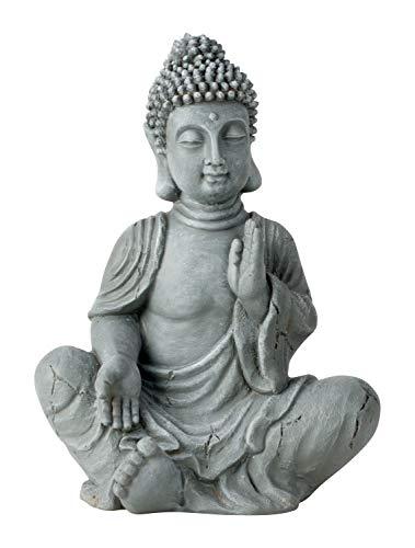 Escultura moderna decorativa de jardín de Buda de piedra artificial, gris, altura 40 cm, ancho 30 cm