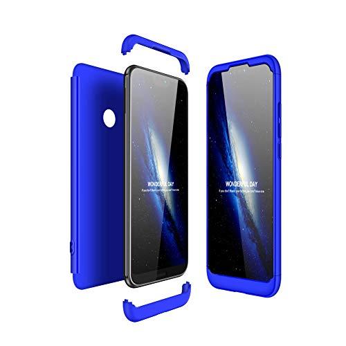 JMGoodstore Funda Compatible Huawei P20 Lite,Carcasa Huawei P20 Lite,360 Grados Integral Ambas Caras+Cristal Templado, 3 in 1 Slim Dactilares Protectora Skin Caso Cover Azul