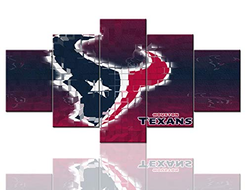 American Football Decor Houston Texans Pictures Sport Paintings 5 Panel Canvas Wall Art Contemporary Artwork Home Decorations for Living Room Giclee Wooden Framed Stretched Ready to Hang(60''Wx32''H)