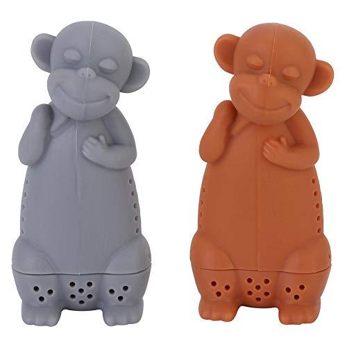 Fdit Creative Cute Monkey Ecológico Colador de infusor de té de silicona Infusor de té de silicona de silicona de grado alimenticio Colador de hojas sueltas sin BPA Difusor de filtro de té de