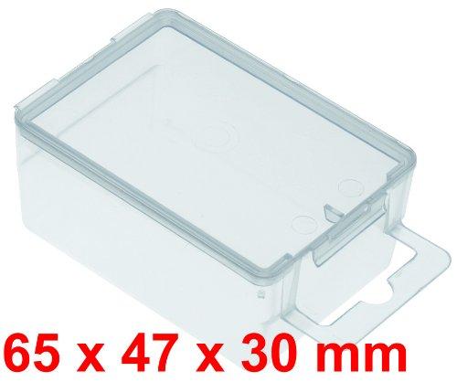 10x Transparentbox 65x47x30 mm mit Eurolochung zum aufhängen
