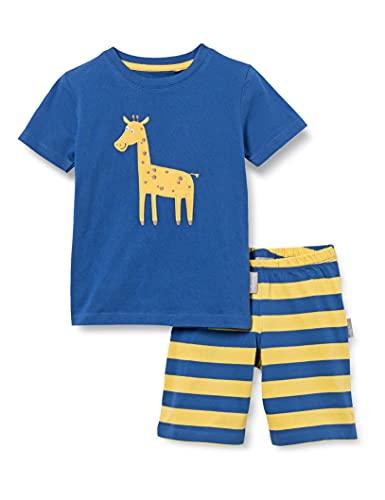 Sigikid Jungen Mini Nightwear, 2-teiliger Pyjama aus Bio-Baumwolle für Kinder Pyjamaset, Blau/Giraffe/kurz, 110