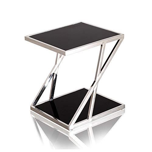 NAN Table Basse de Forme en Acier Inoxydable Z, Verre trempé Mesa 2tier Espace Forme Simple Salon Chambre Balcon