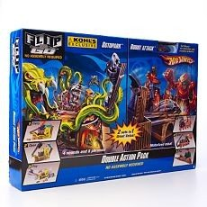 Hot Wheels Double Action Pack Octopark and Robot Attack Flip N Go Playset