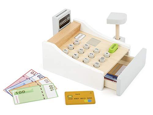 Small Foot 11099 Spielkasse aus Holz, inkl. Scanner, Kartenlesegerät, Spielgeld und Kreditkarten Spielzeug, Mehrfarbig