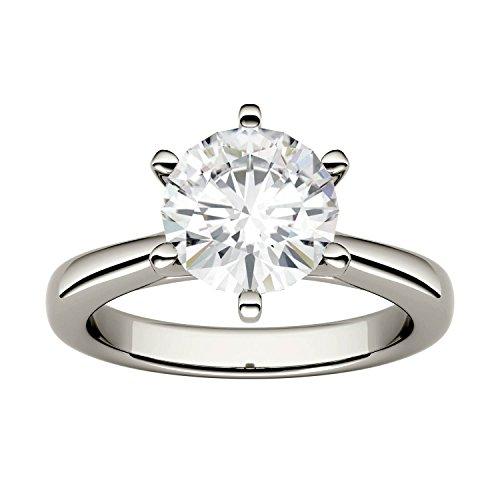 Charles & Colvard Forever One anello di fidanzamento - oro bianco con 14K - Moissanite da 8 mm con taglio rotondo, 1.9 kt, taglia 17