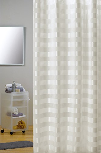 """MSV Cotexsa by Premium Anti-Schimmel Textil Duschvorhang - Anti-Bakteriell, waschbar, 100prozent wasserdicht, mit 12 Duschvorhangringen - Polyester, """"Amalfi"""" Creme 180x200cm – Made in Spain"""