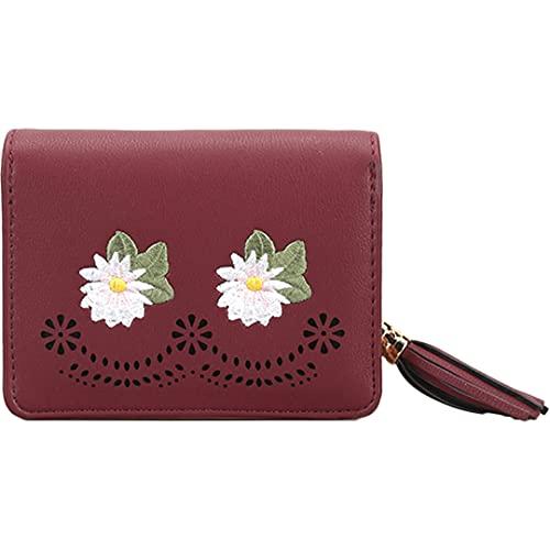 Nombre Personalizado Tarjeta de crédito Slim Long Wallet para Mujeres Bifold de Cuero para Slim (Color : Red, Size : One Size)