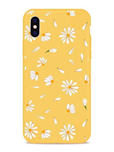 MAYCARI Cute Daisy Flower Case for iPhone 7 Plus/iPhone 8 Plus, Full Protective Soft Rubber Matte TPU Cover Slim Fit Phone Case for Women Girls - Yellow…