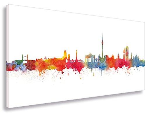 Leinwandbild von Kunstbruder / Wandbild Kunstdruck auf Leinwand / Berlin Skyline Stadt WEISS by DiChyk (div. Größen) - Kunst Druck auf Leinwand - Bild fertig auf Keilrahmen ! Graffiti like Banksy Art Gemälde Kunst Bilder (60x120cm)