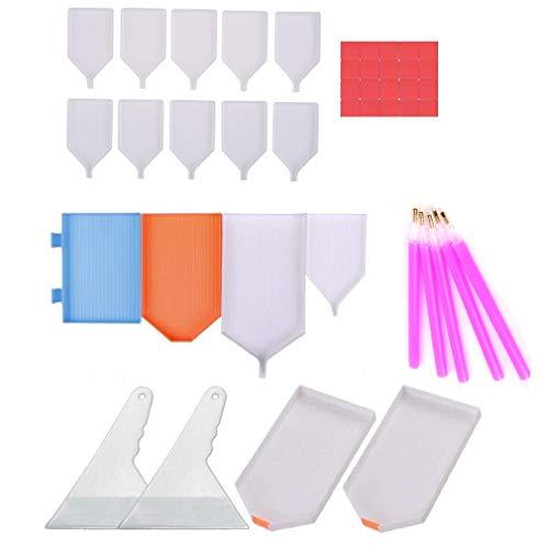 43 bandejas de clasificación de abalorio 5D, bandeja de pintura de diamantes, herramienta de punto de cruz con bandeja de mezcla de pintura de diamante, bandeja de plástico para...