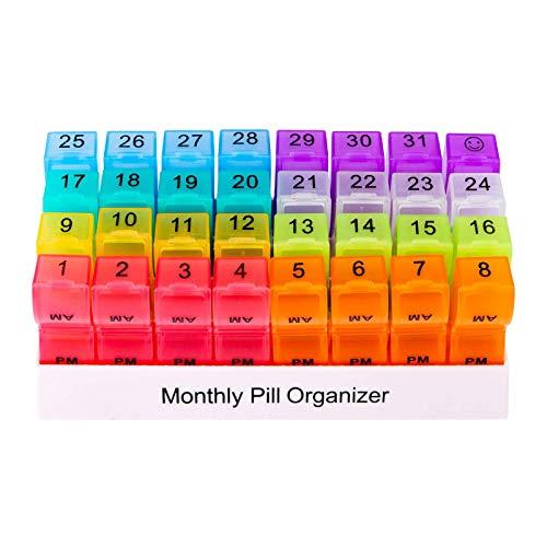 Almencla Organizador de píldoras de Viaje mensual 32 Compartimentos dispensador de Estuche de Medicina Organizador de Aceite de Pescado de Vitamina