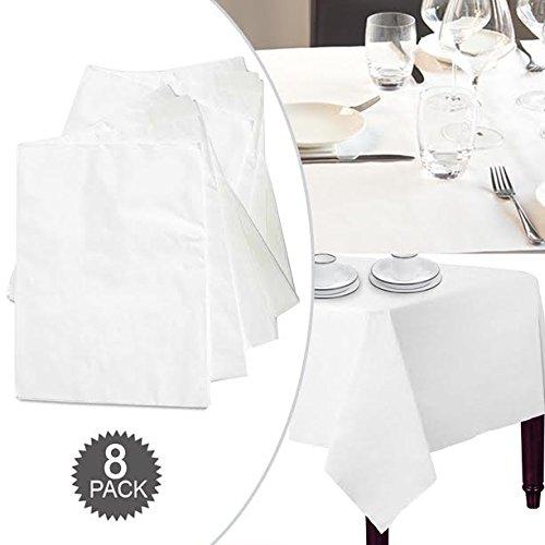 Alta qualità Handy riutilizzabile usa e getta altamente assorbente Bright White Paper Table cover Cloth–ideale per compleanni, matrimoni, conferenza, Night party, stoviglie accessori–quadrato 90x 90cm, confezione da 8