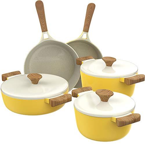 hOmeLabs Ceramic 8 Piece Cookware Set