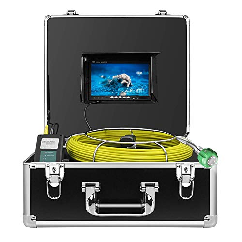 Sewer Camera, Pipe Pipeline Inspection Waterproof IP68 Endoscope 20M/65FT HD 1000TVL Industrial Plumbing Snake CCD Camera with 7-inch LCD Color Monitor (Without DVR)