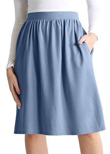 Light Blue Skirt Reg and Plus Size Skirt with Pockets Skirts for Women Knee Length Elastic Waist Skirt (Size XX-Large, Light Blue)