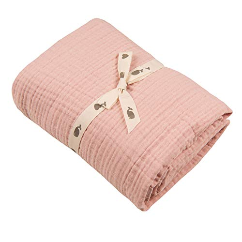 Muslin Blankets, Baby Toddler Quilt, 4 Layers, 100% Cotton Stroller Blanket, Hypoallergenic, Super-Soft, Breathable and Lightweight Swaddle, Nursery & Crib Blanket, Large (47 X 35 inch) (Pink)