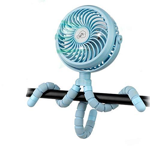 Winique Kinderwagenlüfter, batteriebetriebene Autositze Clip-on-Lüfter Persönlicher USB-Tischlüfter Luftzirkulator Ultra Leiser 4-Gang 360 ° drehbarer Handventilator