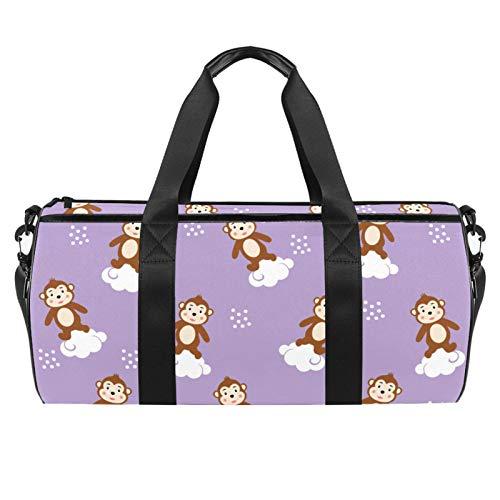 LAZEN Hombro Handy Sports Gym Bags Travel Duffle Totes Bag para hombres, mujeres, mono en la nube
