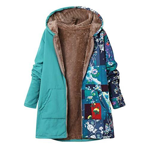QingJiu Damen Winter Warme Kapuzenjacke Plus Samt Gedruckt Parka Dicker Reißverschluss Jacke Große Taschen Oberbekleidung