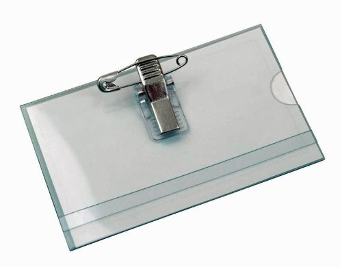FALAMBI 100 x Namensschilder/Kartenhalter mit Einleger + Clip + Nadel, 90 x 56 mm, zusätzl. 3 Selbstklebende Nadelclipse