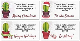 Festive Cacti Christmas Personalized Border Return Address labels- Set of 144 1-1/8