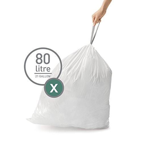 simplehuman Code X Custom Fit 80 L/21 Gallon Trash Can Liner, White