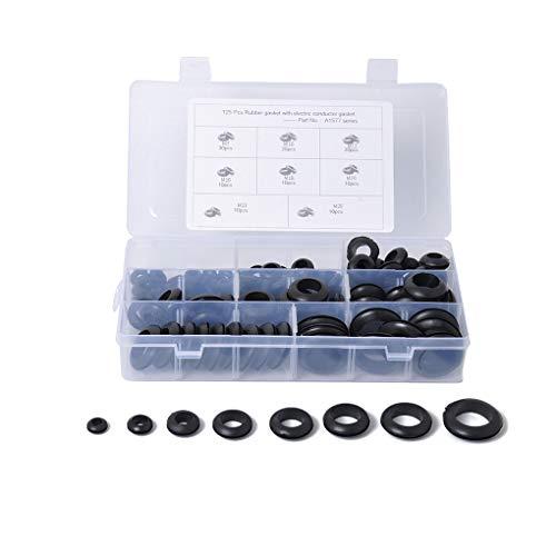 Lorsoul 125pcs / Box Draht Grommets Firewall Ring Kit 8 Arten doppelten Seiten Sicherungen Auto-elektrischen Draht Grommets Dichtungen