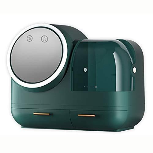 Messygo Caja De Almacenamiento De Cosméticos con Espejo De Luz Giratoria LED Y Ventilador Diseño De Mano Estuche Organizador De Maquillaje De Gran Capacidad,Verde