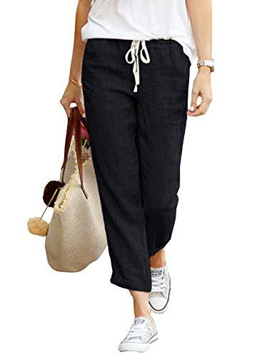 Yidarton Damen Hose Sommer Stoffhose Einfarbig Freizeithose Elastischer Bund Leinenhose Mit Taschen (Schwarz, 2XL)