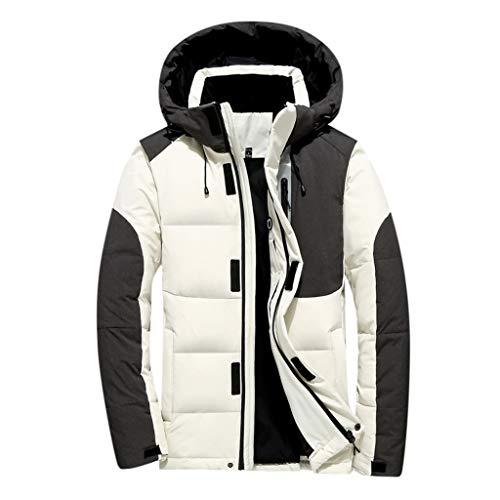 Celucke Herren Winterjacke Warme Dicke Winter Parka,Männer Daunenparka Mode Kapuzenjacke Hoodie Wattierte Jacke (Weiß, L)