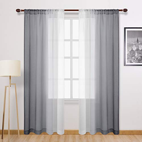 DWCN Grey Faux Linen Ombre Sheer Curtains - Semi Voile Gradient Rod Pocket Curtains for Bedroom and Living Room, Set of 2 Window Curtain Panels, 52 x 84 Inches Long