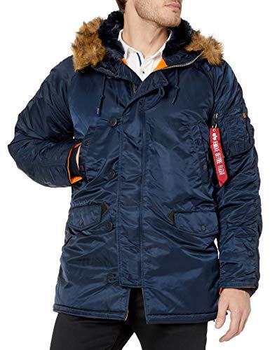 Alpha Industries Men's N-3B Slim-Fit Parka Jacket with Removable Faux-Fur Hood Trim, Replica Blue, Medium