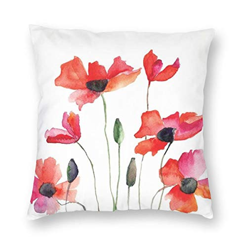 ZUL 3D Print Throw Pillow Covers,Poppies Wildflowers Nature Meadow Painting With Watercolor Effect,Decorative Square Cushion Covers Case for Sofa Couch Home Decor