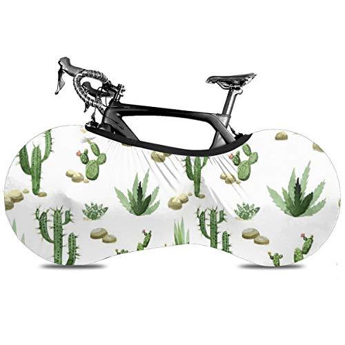 Gold Piñas fondo oscuro portátil cubierta de bicicleta interior anti polvo alta elástico cubierta de rueda de bicicleta protectora Rip Stop neumático carretera mtb bolsa de almacenamiento, Cactus suculentas, talla única