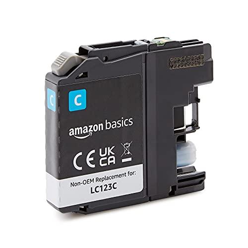 Amazon Basics - Cartucho de tinta regenerado de rendimiento estándar, repuesto para Brother LC123, estándar, paquete de 1unidad (color cian)