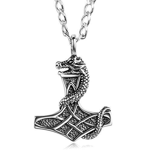 STERLL Herren Hals-Kette Echt Silber Thor Wikinger Hammer Mythos Anhänger Amulett Geschenk für Männer