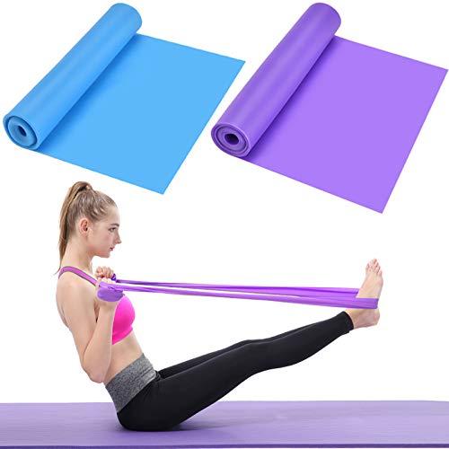 HQdeal 2 Pcs Bandas Elasticas de Fitness, 1.5M x 15CM Látex Natural Cintas Elasticas Bandas Ejercicio Bandas para Yoga, Pilates, Crossfit, Estiramientos, Fisioterapia, Entrenamiento de Fuerza