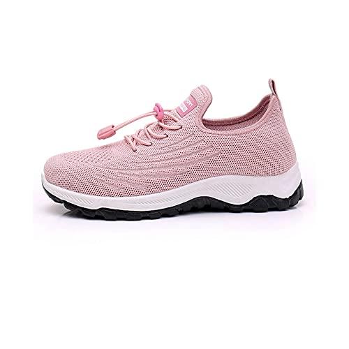 Zapatos para Caminar para Mujeres de Ancho Ancho, Zapatos para Correr para Mujeres, Zapatillas,Mocasines para Mujer, Zapatillas de Deporte con Plataforma de cuña (Pink,US:8/EU:39)