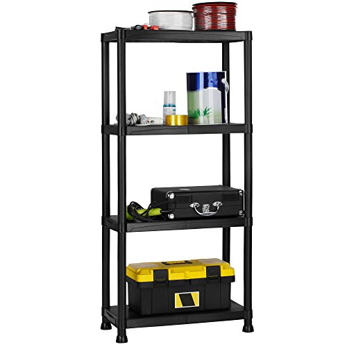 VonHaus 4 Tier Plastic Shelving Unit - Weatherproof Shed Storage - Lightweight, Compact & Easy to Build