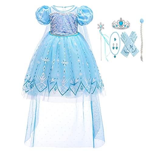 Disfraz de princesa de lentejuelas con tren largo azul fiesta de nieve con accesorios