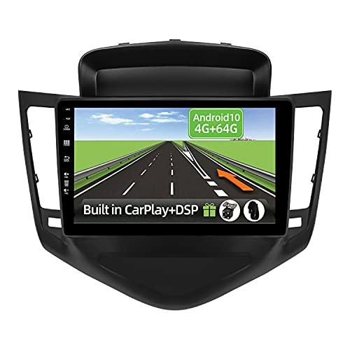 YUNTX Android 10 2 Din Autoradio per Chevrolet Cruze(2009-2014)-4G+64G-[Integrato CarPlay/Android auto/DSP]-Gratuiti 4LED Camera-Supporto DAB/Controllo del Volante/360 Camera/Bluetooth/MirrorLink