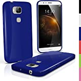 iGadgitz u4186Funda TPU Compatible con Huawei G8Case Carcasa con Protector–Azul
