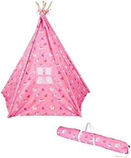 6' Canvas Teepee With Carry Case - Canvas Fabric - By Trademark Innovations (Princess Print)